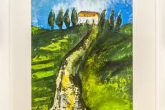 On top of the Hill - Acryl on Paper with Frame - 43 x 33 cm